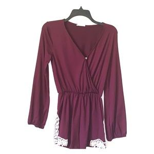 Altar'd state maroon and lace long sleeved romper